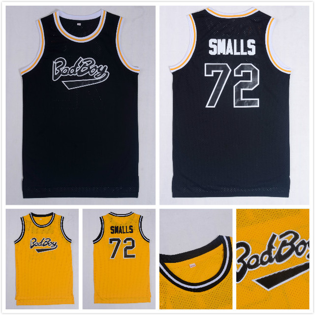 Biggie Smalls  72 Bad Boy Notorious BIG Basketball Jersey All Stitched  Yellow Black Mens 54b9284cc
