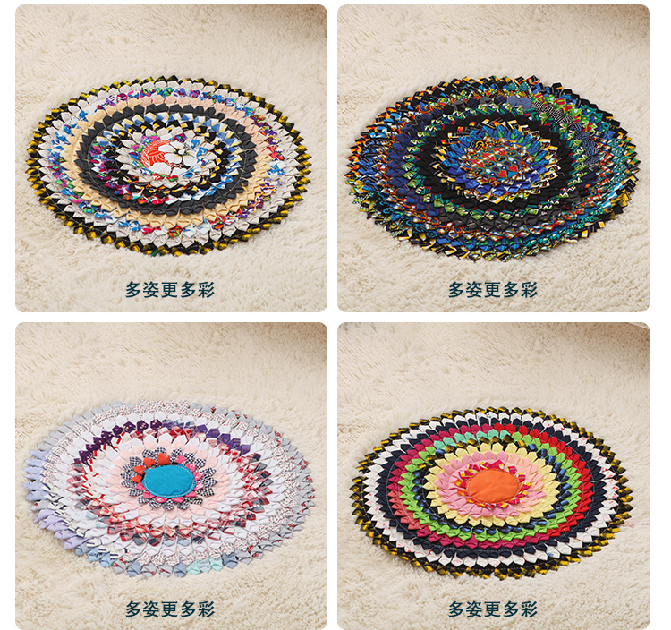 Thai Style Colorful Embroidery Circular Cushion Floor Futon
