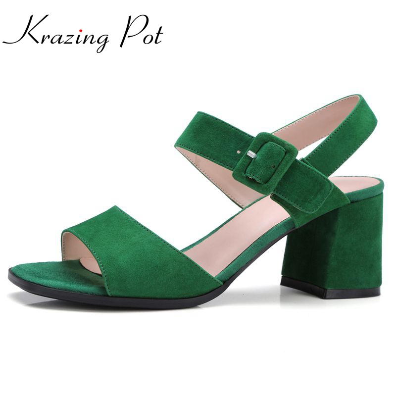 Krazing Pot 2017 superstar women brand shoes peep toe kid suede sandals gradiator ankle strap high