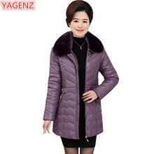YAGENZ Female Leather Cotton Coat Winter Jacket Women Long section Middle aged Women Fur collar Large size Parkas Women Coat 682