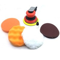JiKong Pneumatic Tools Sander Ploishing Red and Black 5 Inch Sponge Foam Kit Waxing Buffing Pad for Auto Car Polishing