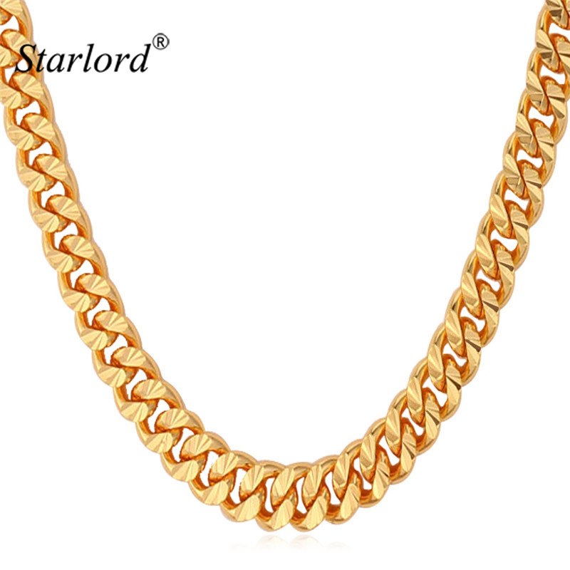 Starlord Chain For Men Necklace Vintage Gold Color 6MM 55CM 22'' Fashion Mens Necklace Cuban Link Chain Jewelry N838 цены