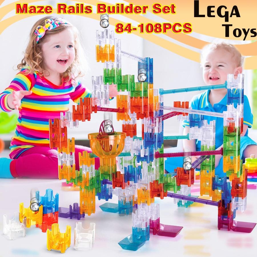 84-108 pcs Labyrinthe Rails Builder Set DIY Construction Marbre Course de Piste de Course Cube blocs de construction jouets Éducatifs Cadeau pour Enfants