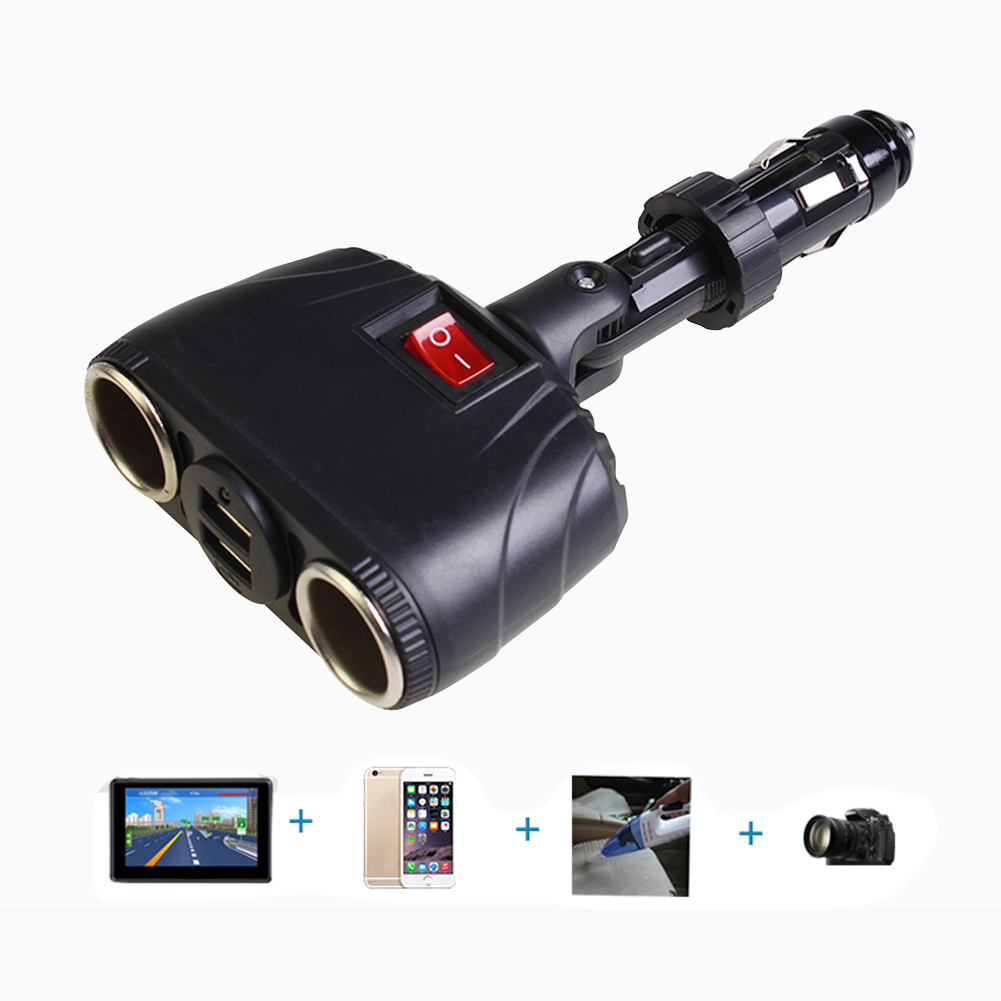 12V/24V 3.1A Dual USB Car Charger Adapter Support Two Cigarette Lighter Splitter Socket With Switch car styling