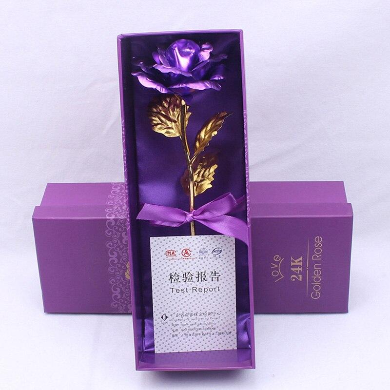 Креативный подарок Роза эмуляция цветок 24 к Золотая фольга Роза подарок на день Святого Валентина одиночный позолоченный букет розы коробка Золотая фольга цветок - Цвет: 06