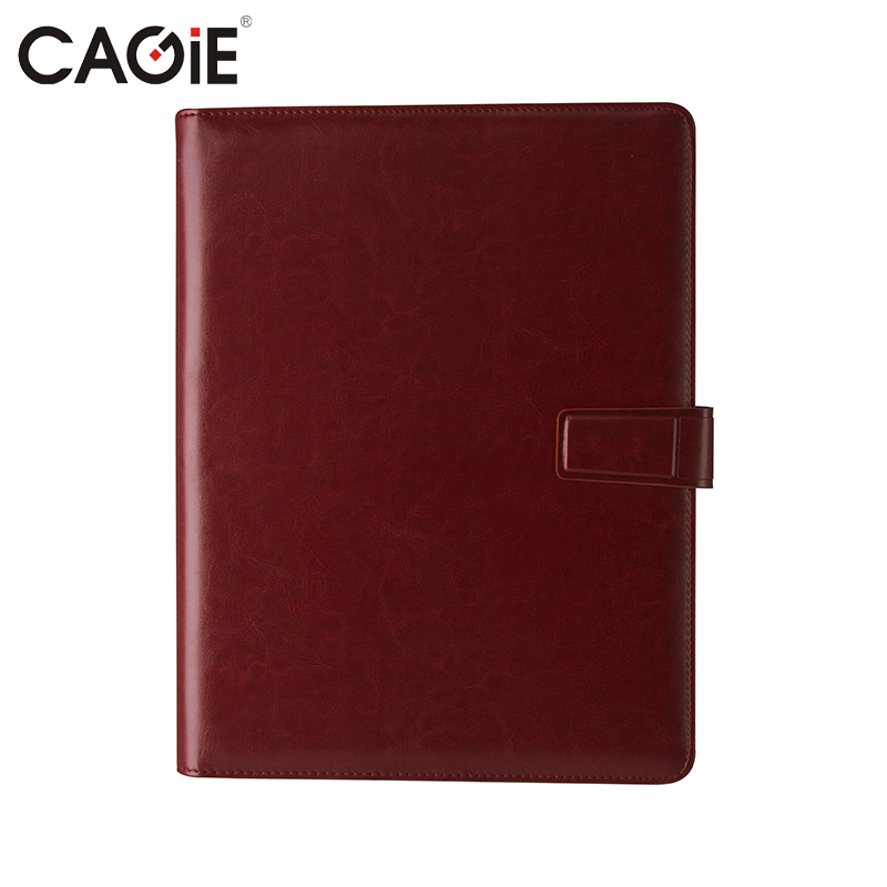 CAGIE Red Buainess Office Pu Leather File Folder for Documents Padfolio A4 Clipboard Folder portafolios carpeta cagie key holder a4 file zipper folder multifunction real estate company office manager folder business padfolio bag