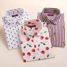 New Style Women Blouses Pattern Cotton Shirts Long Sleeve Floral Women Clothes Casual Plus Size Turn-Down Collar Cotton Blouses