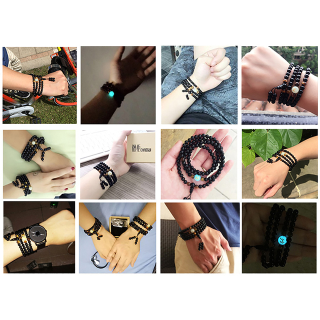 BOEYCJR Black Buddha Beads Bangles & Bracelets Handmade Jewelry Ethnic Glowing in the Dark Bracelet for Women or Men 2018 4