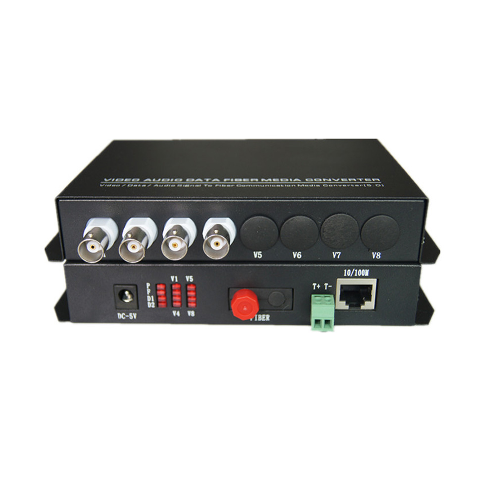 Multifunction Fiber optic media converters 4CH Video and 10/100M Ethernet RJ45 and RS485 Data - FC Singlemode 20Km for CCTV