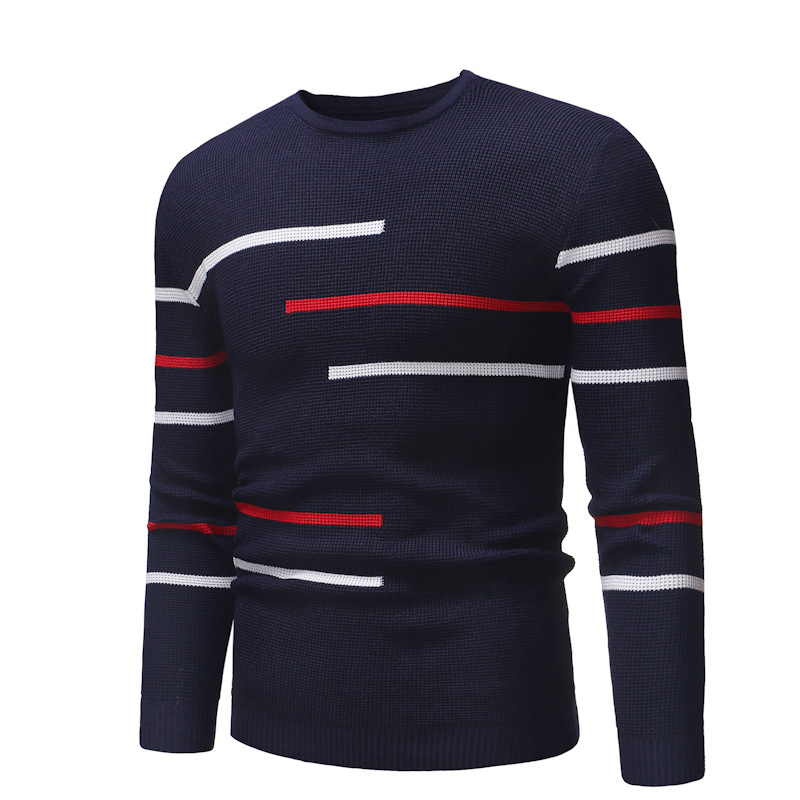 ZOGAA 2019 Autumn Winter New Leisure Men Fashion Comfortable Round Turtleneck Sweater Casual Striped Men Winter Clothes 4 Colors