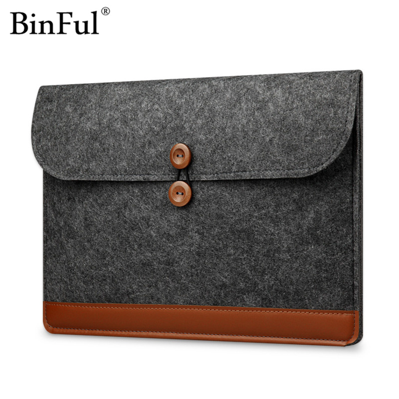 Binful Wool Felt Laptop Sleeve Bag Case For Macbook Air 11 12 13 15 Pro Retina 11.6 13.3 15.4