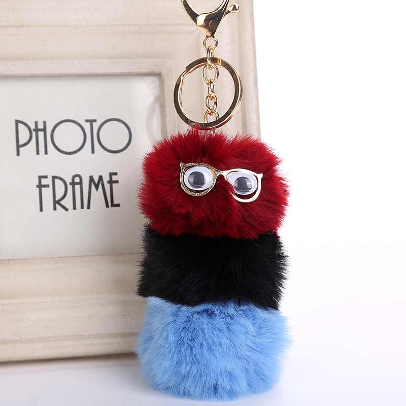 Usar óculos Lagarta Pingente Chaveiro Pompom colorido dos desenhos animados da Pele Do Falso animal Suporte Chave Do Carro de Presente Bonito jóias K1633