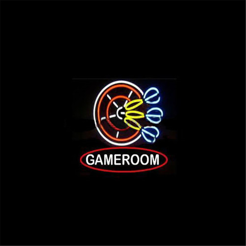 GAMEROOM DART NEON SIGN Signboard REAL GLASS BEER BAR PUB Billiards display