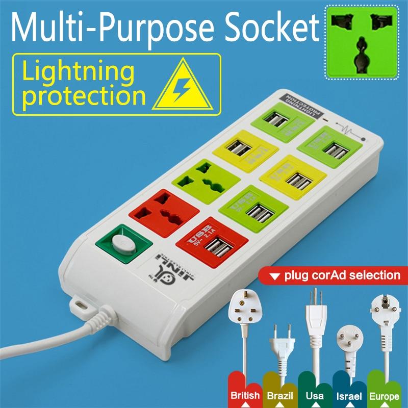 Умная Розетка 2 выхода+12 выходами USB удлинитель с молниезащиты