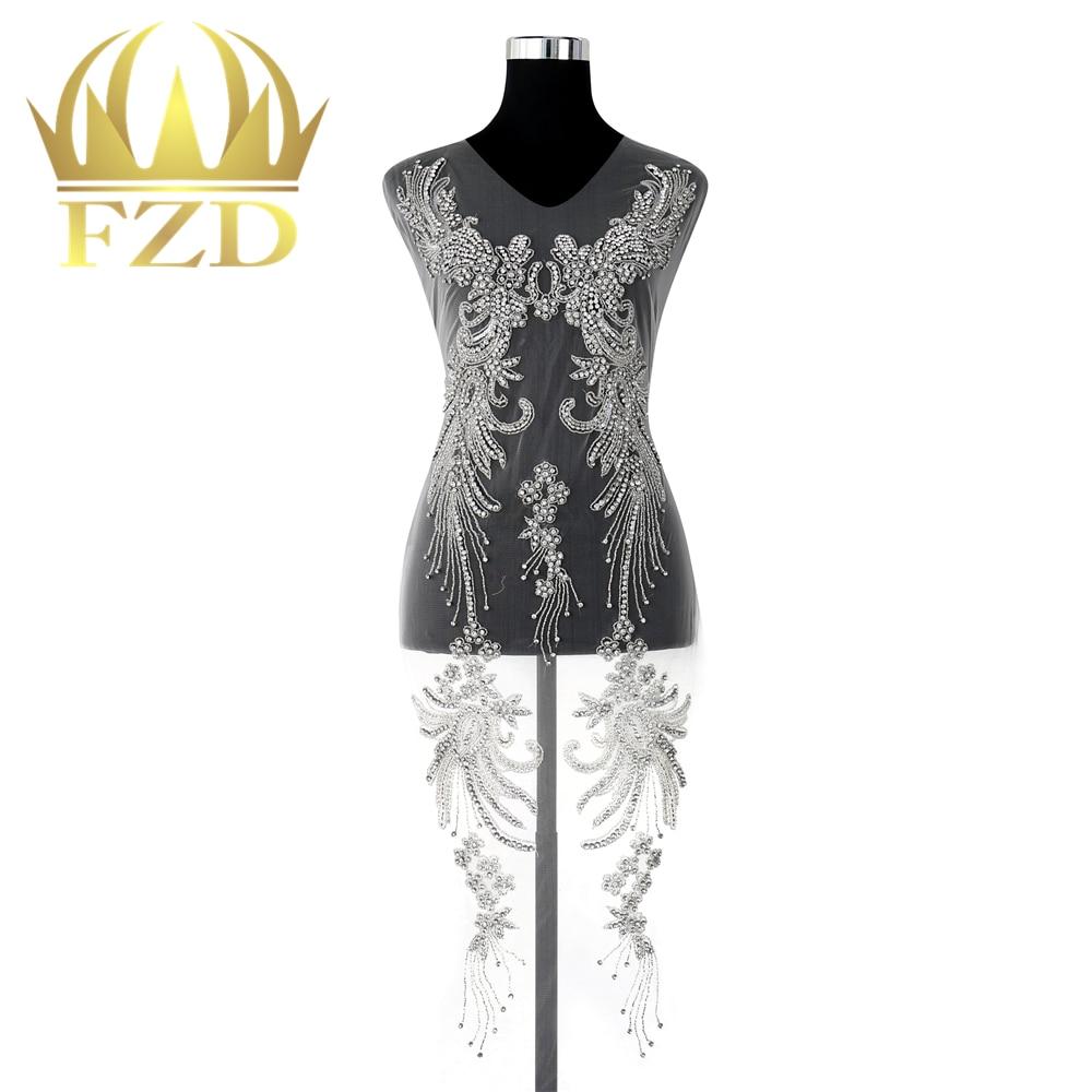 Rhinestone Bridal Applique,Beaded Wedding Dress Applique,Hand Made with Beautiful Rhinestone,Pearl Beaded Applique for DIY Decor