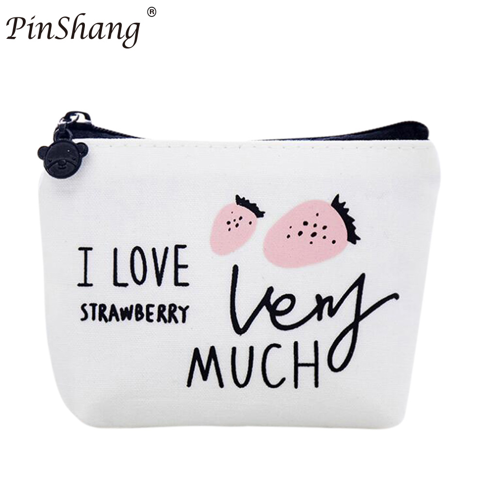 PinShang New Hot Lovely Cute Girls Canvas Coin Purse Fruits Printed Women Zipper Wallet Small Key Coins Bag for Kids Gift ZK25