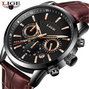 Image 1 - LIGE 2019 新しい腕時計メンズファッションスポーツクォーツ時計メンズブランド高級レザービジネス防水時計レロジオ Masculino