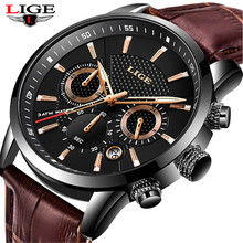 LIGE 2019 ใหม่นาฬิกาผู้ชายแฟชั่นนาฬิกาควอตซ์ Mens นาฬิกาแบรนด์หรูหนังธุรกิจนาฬิกากันน้ำ Relogio Masculino