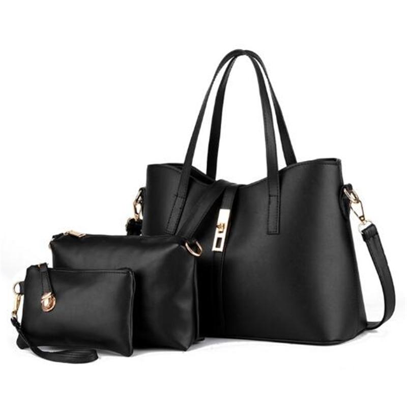 1 set 3 bags 2017 Women Fashion Composite Bags Girls Shoulder Shopping bag Ladies Handbag Tote Bags Femme Sac A Main Black Pink