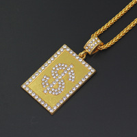 Men's Square Dollar Sign Hip Hop Pendant Necklace Gold AAA Cubic Zirconia Men's Gift Necklace