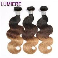 Lumiere Hair Ombre Brazilian Hair Weave Bundles Body Wave T1B 4 27 3 Tone Non Remy