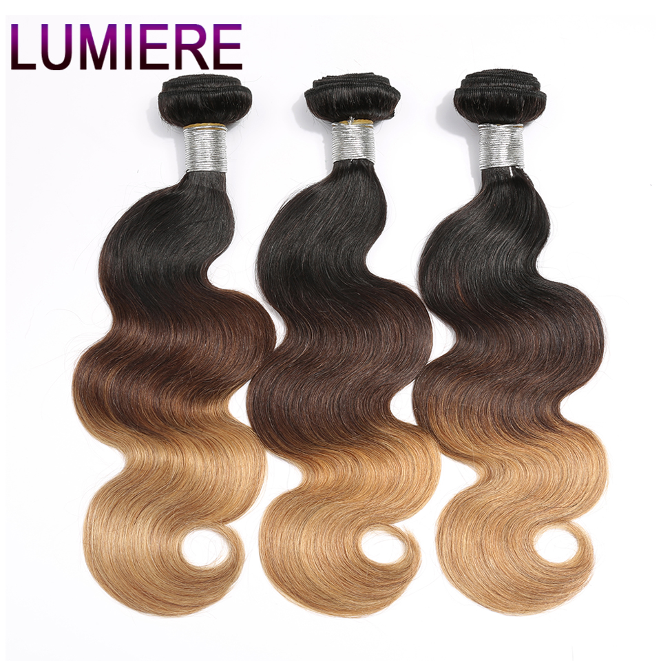 Lumiere Hair Ombre Brazilian Body Wave Hair Weave Bundles T1B/4/27 3 Tone Non Remy Human Hair Extensions 1 Piece Can Be Mixed