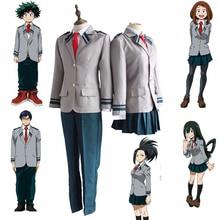 Anime Boku hiçbir Kahraman Academia OCHACO URARAKA Midoriya Izuku Cosplay My Hero Academia Cosplay Kostüm okul üniforması Spor