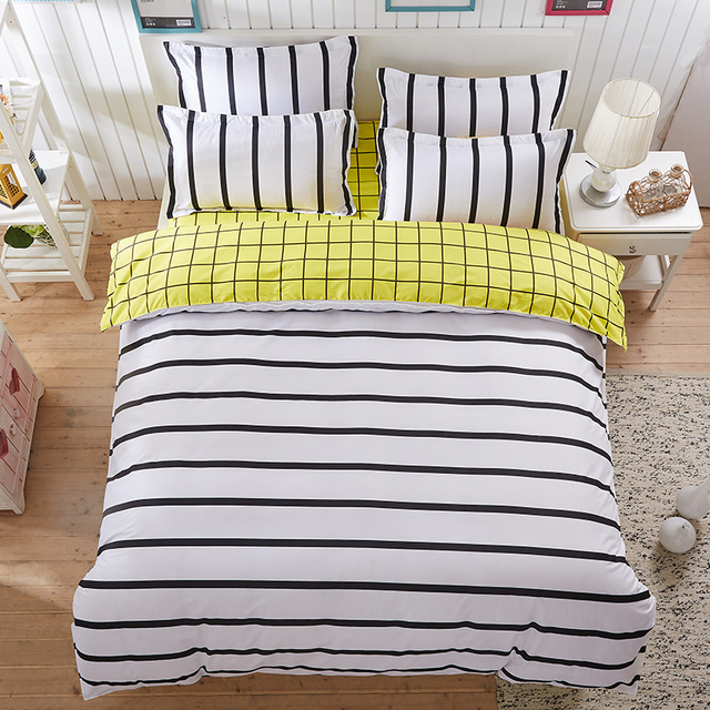 A Black And White Stripes B Lemon Yellow Sided Printed Bedding Sets Super King Size Bed Sheet Duvet Cover Set Pillowcases