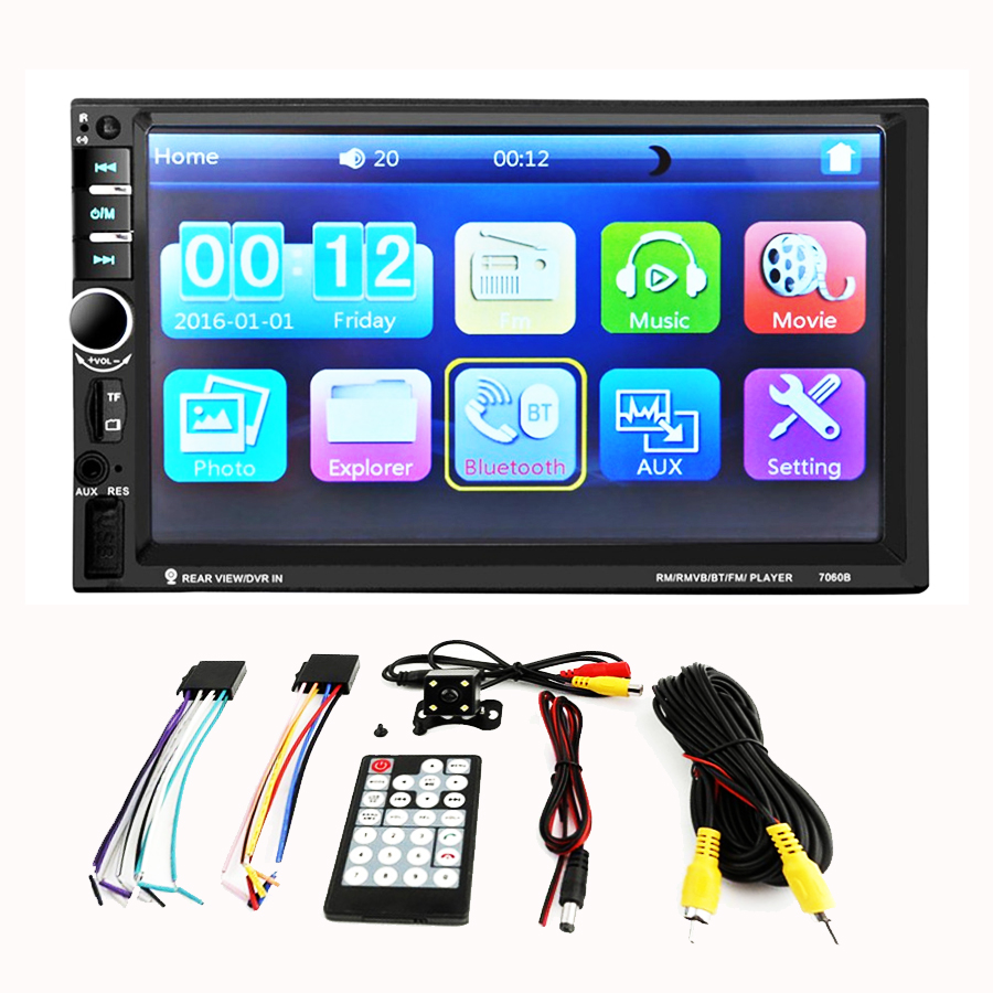 7 inch Bluetooth Auto Car MP5 Video Player Remote Control+Camera Vehicle In Touch Screen Support MP3 HD Capacitive touch Car Ste 7 inch car radio gps mp5 video player rear camera bluetooth navigation 2 din touch screen remote control visture v7020g