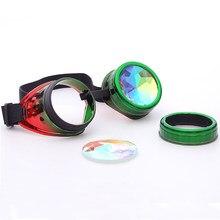 540966ffe FLORATA Big Promoção Moda Unissex Óculos Adereços Cosplay Kaleidoscope Steampunk  Óculos de Lente De Vidro Cristal 11 Cores Do Ar..