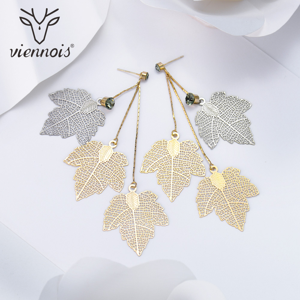 Viennois Gold & Black Hollow Out Maple Leaf Women Dangle Earrings Triple Leaves Long Drop Earring Jewelry With Rhinestone a suit of charming rhinestone hollow out fox necklace and earrings for women