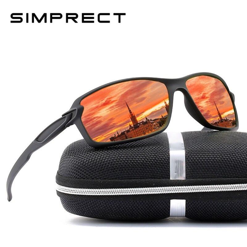 SIMPRECT Rectangle lunettes De soleil hommes polarisées UV400 haute qualité miroir conduite lunettes De soleil marque De mode Lentes De Sol Hombre