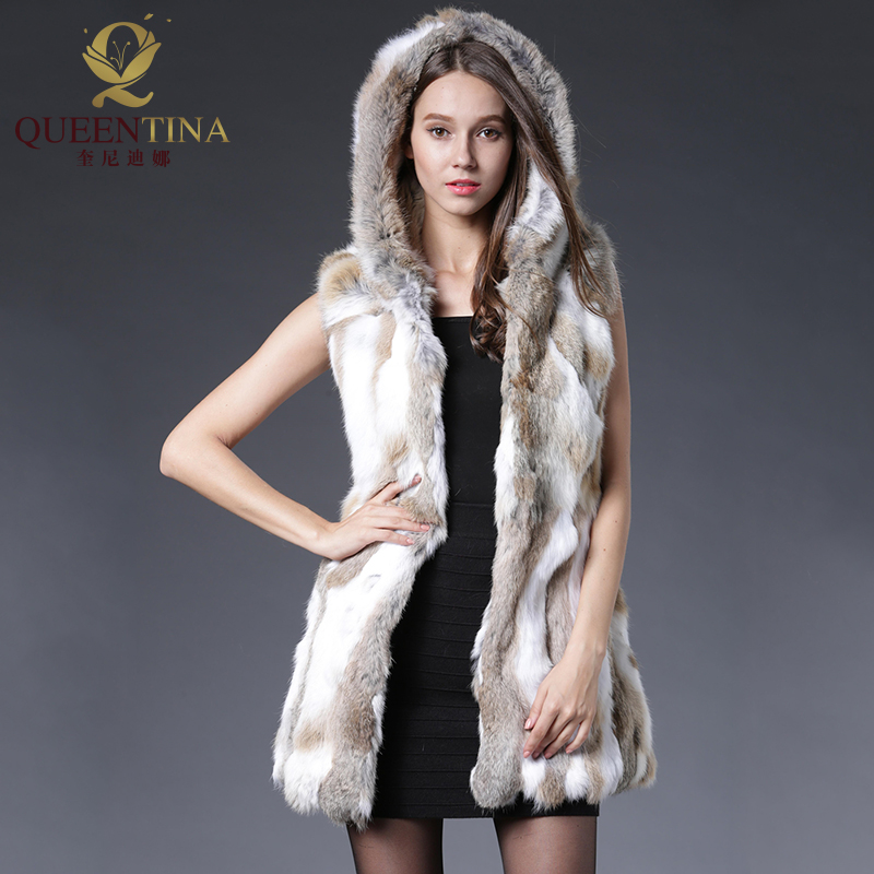 Rabbit Fur Vest Hooded Sexy Original Rabbit Fur Gilet Winter Real Fur Jacket For Women Fashion Նորաձև նապաստակի մորթյա բաճկոններ անքուն