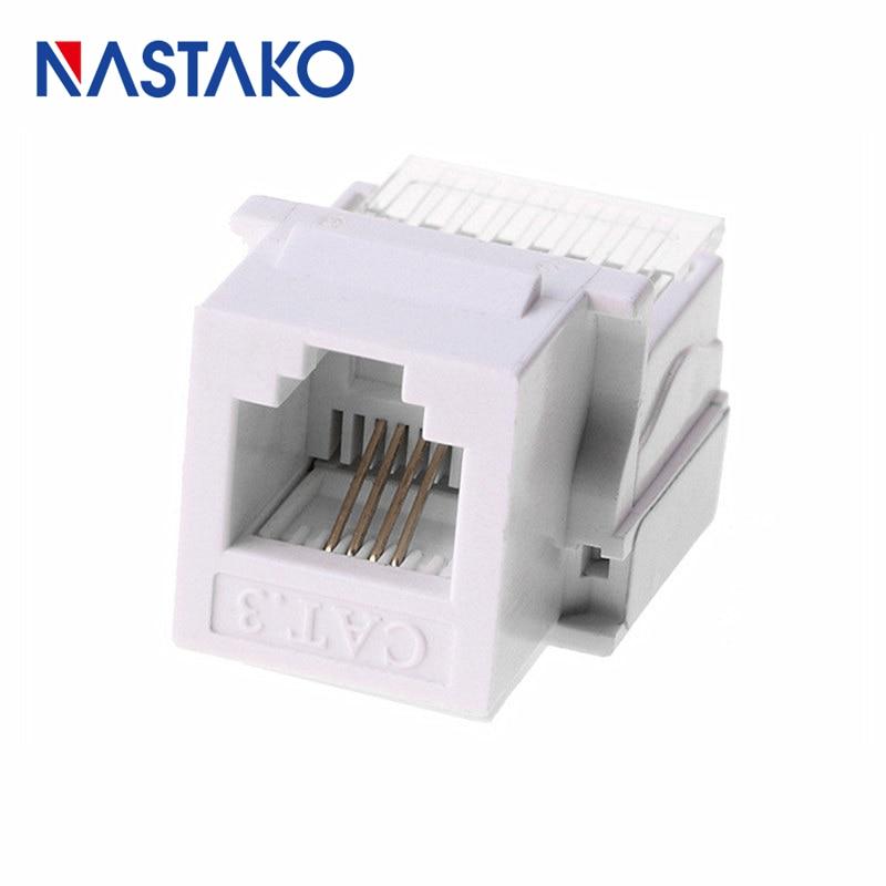 US $6.22 11% OFF NASTAKO 6P4C CAT3 Tool free telephone module Keystone on wireless jack, cinderella jack, sound jack,