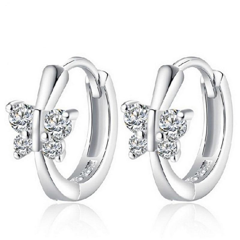 Crystal Butterfly Hoop Earrings Bckle Female Fashion Cute ...
