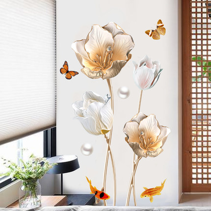 65 105cm Tulips 3d Wallpaper Living Room Bedroom Decoration Wall Sticker Diy Flower Bathroom Home Decor Mural