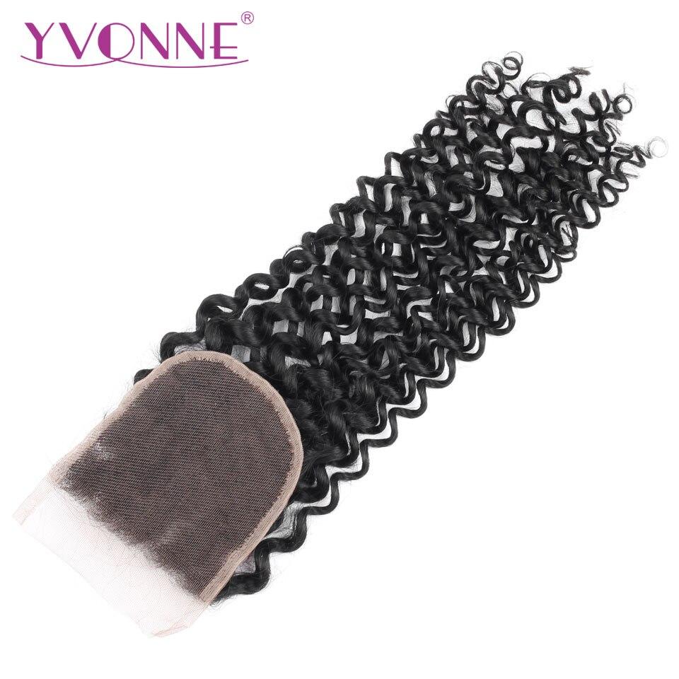 YVONNE Malaysian Curly Lace Closure Virgin Human Hair Closure 4x4 Free Part Natural Color