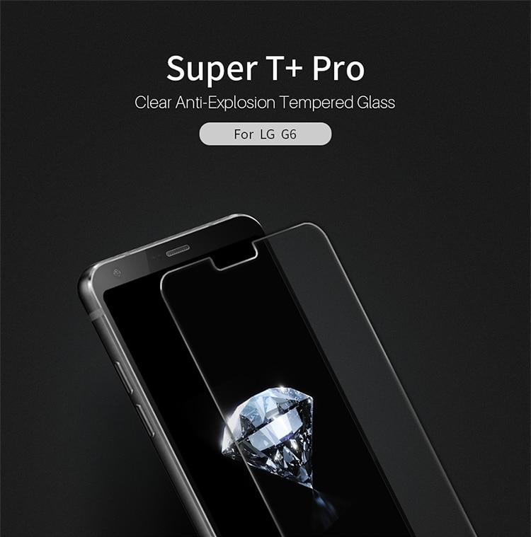 imágenes para Para lg g6 protector de pantalla original de nillkin super t + pro claro anti-explosión templado película protectora de cristal para lg g6