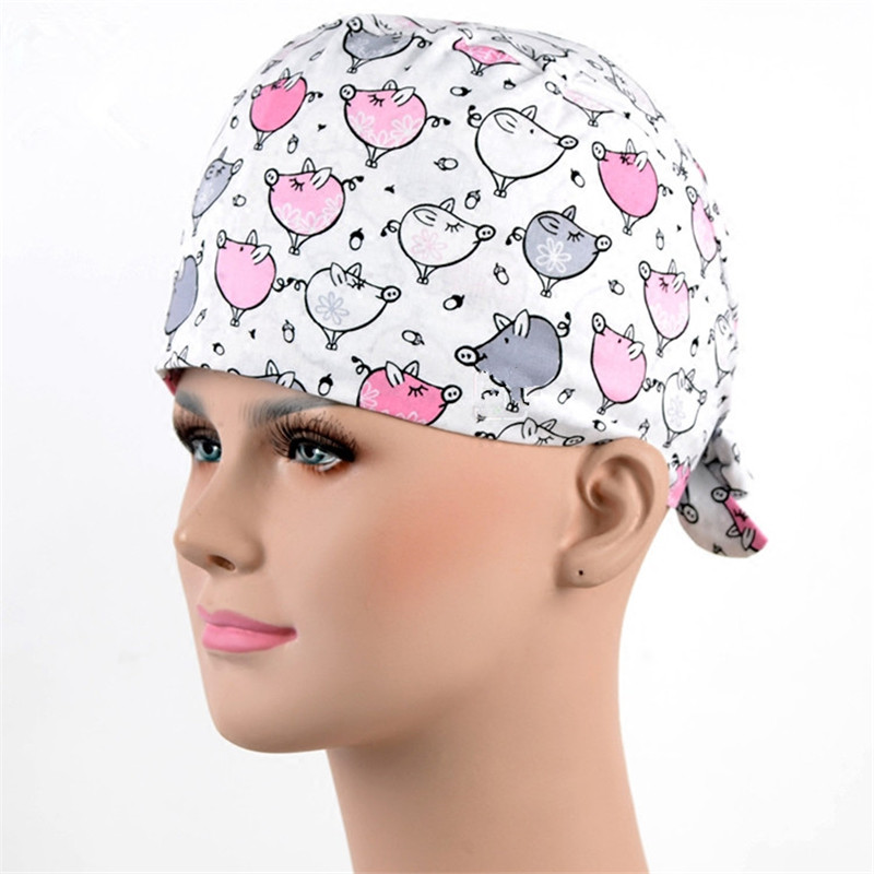 94dcfed8407d0 2018 New Surgical Caps for Women MEDICAL CAPS Work Hat Hospital Pet Shop in  White with Pink Cute Pigs Convertable Lab Caps-in Accessories from Novelty  ...