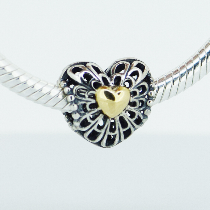 Pandora Jewelry Free Shipping: Fits For Pandora Bracelets Vintage Heart Charms With 14K