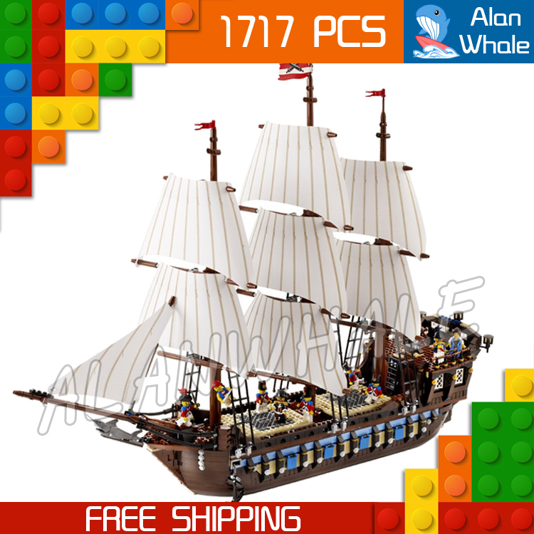 1717pcs New 22001 Pirates of the Caribbean Imperial Flagship DIY Model Building Blocks Big Toys Compatible with Lego dhl lepin 22001 1717pcs pirates of the caribbean building blocks ship model building toys compatible legoed 10210