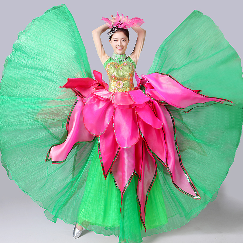 Dancing Outfit 2018 New Ladies Square Dance Costume Stage Loaded Green Petal Skirt Opening Dance Fashion Adult Dance Clothes