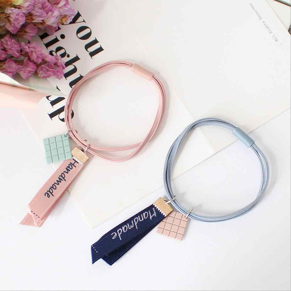 Fashion Mosaic Ribbon Hair Accessories For Women Geometric Rope Personality Head Scrunchie Rope Double Layer Rubber Band Girl