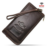Men's wallet leather multi function wrist strap zipper phone pocket purse
