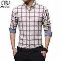 MR.JIM Men's Dress Shirts 2016 New  Fashion Slim Fit Long Sleeve Male Plaid Cotton Casual Social Shirts Plus Size M-5XL