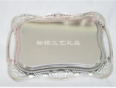 Stainless Steel Rectangle Serving Tray Metal Plate Dish For Wedding Party With Handles Bandeja Decorativadecorative Trays Ft012 In Storage From Home