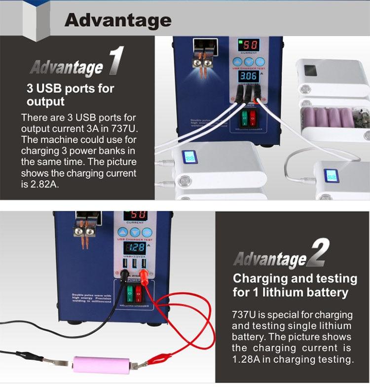 Tools : SUNKKO 737U Digital Display Double pulse Spot Welder LED illumination USB charging Handheld Welding Machine for 18650 battery