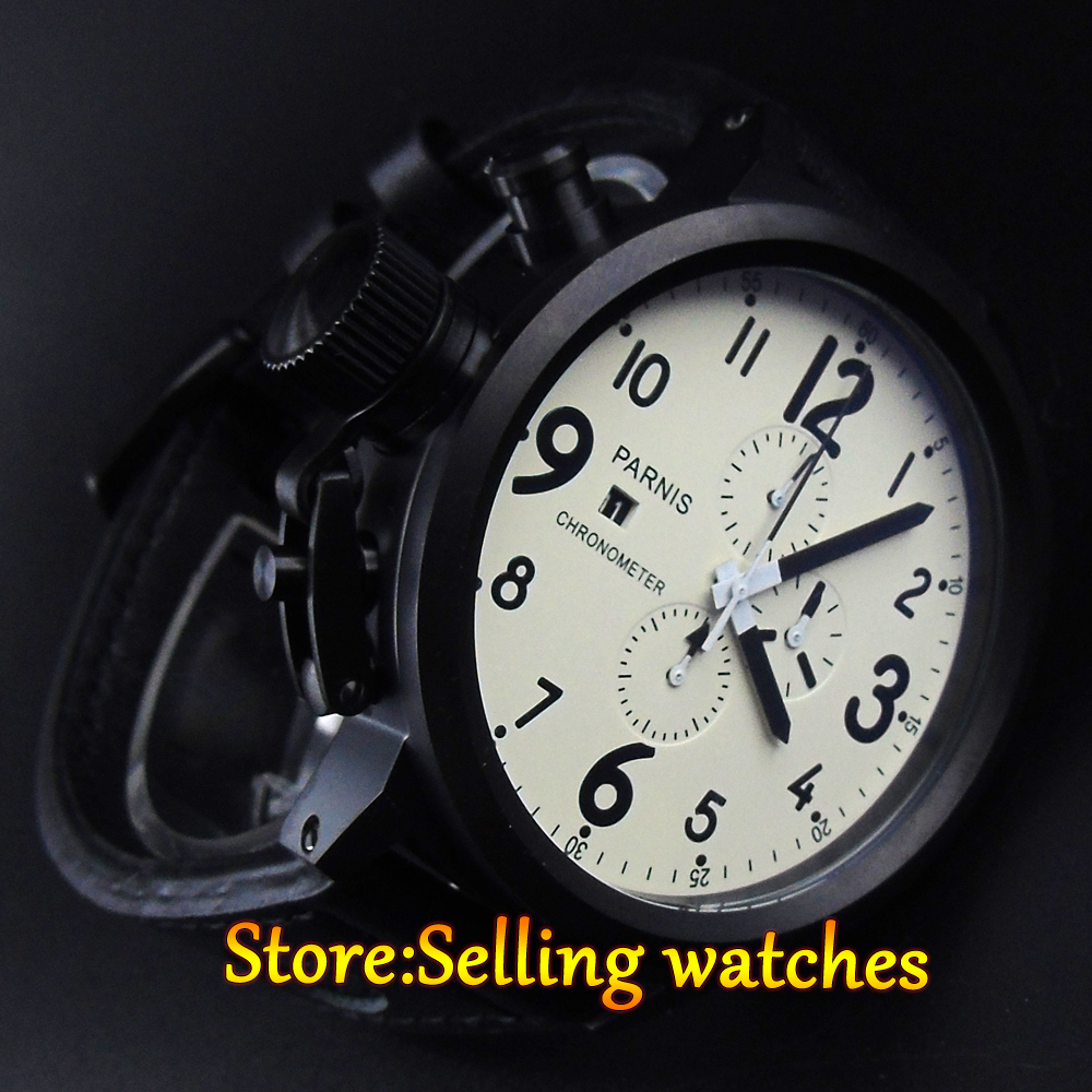 online get cheap 50mm watch aliexpress com alibaba group parnis 50mm pvd white dial black number full chronograph lefty mens watch mainland