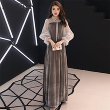 Evening Dress White Tulle Round Collar Velour Long Plus Size Women Party Dress Elastic Cuff Robe De Soiree Prom Dress 2019 E480 contrast collar and cuff grid dress