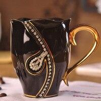 Creative gift elegant 3d golden handle white black necklace diamond ceramic china coffee milk tea cup large capacity lovers mugs